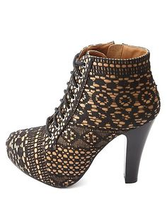 Lace-Up Bonded Lace Platform Booties: Charlotte Russe