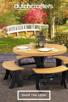 Eco-friendly, durable, and stylish, our LuxCraft 4' Round Poly Dining Set will transform and outdoor space into a fun, chic eatery that you can enjoy on any occasion. The 4' round pedestal table offers plenty of room for your food, drinks, and sides, while the four curved benches offer a deep, sturdy seat that makes it easy to relax and enjoy your time together. Our durable poly furniture offers a solution to outdoor living that required little to no maintenance. #fall #autumn #outdoordining Outdoor Dining Furniture, Outdoor Living, Outdoor Decor, Curved Bench, Table Dimensions, Autumn, Fall, Furniture Collection, Dining Set
