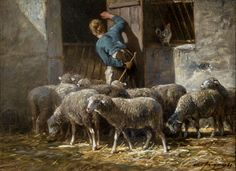 """https://flic.kr/p/HhJ3Uc   Charles Emile Jacque (French, 1813-1894), Return of the Flock, 1885   Oil on wood panel, 9.5 x 12.875"""".  Collection of Tweed Museum of Art, UMD.  Gift of Mrs. E.L. (Alice Tweed) Tuohy.  D58.x56."""