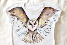Owl Handpainted  tshirt  owl shirt  wings of owl by Dariacreative