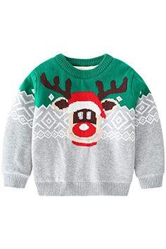 Chic Vinnytido Kids Christmas Sweater for Boys Reindeer Thicken Warm Pullover Knitted Sweater 1-6year reindeer christmas jumper. ($20.66) alltoenjoyshopping from top store