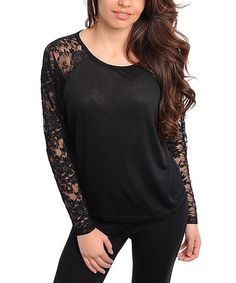 Take a look at this Black Lace Top by Buy in America on #zulily today!