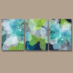 I want all of these colors. These are perfect girl colors. Wall Art Canvas Watercolor Artwork Flourish Flower Floral Design Navy Blue Green Aqua Nursery Set of 3 Prints Decor Bedroom Bathroom Three Flower Canvas, Flower Wall, Watercolor Canvas, Watercolor Flowers, Blue Green Bedrooms, Pintura Graffiti, Green Wall Decor, Flower Artwork, Blue Artwork