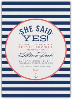 Navy Gold Nautical Bridal Shower Invitation Nautical Chic and
