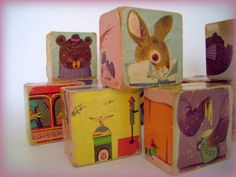 Vintage Baby Blocks Wooden with Colorful by merrilyverilyvintage