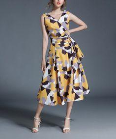 Coeur de Vague Yellow Abstract Wrap Midi Dress | zulily