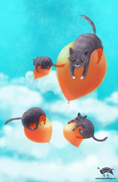 Cats on balloons by jmsf-co