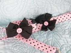 Pink Black Polka Dot  Shabby Chic Collar and Leash  Gift Set  Dog Collar and Leash Set