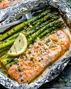 Salmon and Asparagus Foil Packs with Garlic Lemon Butter Sauce– Whip up something quick and delicious tonight! Salmon and asparagus are baked together with a rich buttery sauce in individual foil packs. Keto Foods, Keto Recipes, Healthy Recipes, Sauce Recipes, Seafood Recipes, Paleo Diet, Drink Recipes, Healthy Foods, Baked Salmon And Asparagus