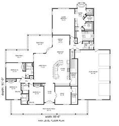 Country Style House Plan - 4 Beds 4.5 Baths 3491 Sq/Ft Plan #932-23 Floor Plan - Main Floor Plan - Houseplans.com