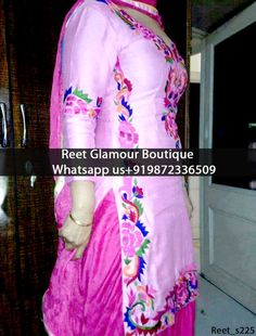 Adorable Pink Embroidered Punjabi Suit Product Code : Reet_s225 To order, call/whats app on +919872336509 We offer huge variety of Punjabi Suits, Anarkali Suits, Lehenga Choli, Bridal Suits,Sari, Gowns,etc.We Can also Design any Suit of your Own Design and any Color Combination.