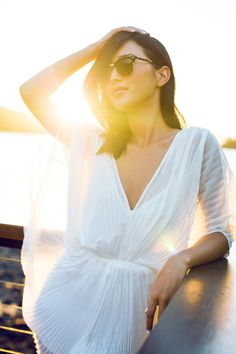 LOCATION: HAMILTON ISLAND Alice McCall Playsuit / Ray Ban Glasses / COS Sandals