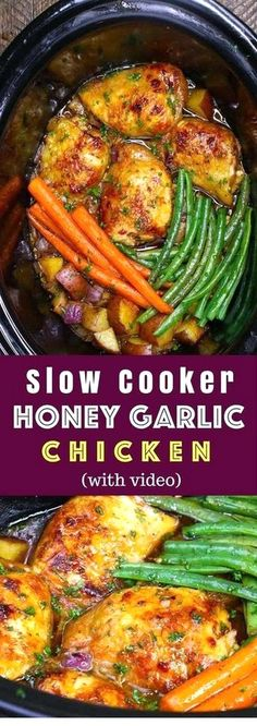 The easiest, most unbelievably delicious Slow Cooker Honey Garlic Chicken With V. - The easiest, most unbelievably delicious Slow Cooker Honey Garlic Chicken With Veggies. It's one - The easiest, most unbelievably delicious Slow Cooker Honey Ga Chicken Thights Recipes, Garlic Chicken Recipes, Healthy Chicken Recipes, Recipe Chicken, Chicken Salad, Parmesan Chicken Crockpot, Crockpot Meals Easy Chicken, Heart Healthy Crockpot Recipes, Crockpot Chicken Tenderloins