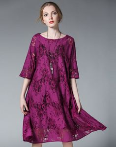 #VIPme Purple Lace Half Sleeve Plus Size A Line Midi Dress ❤️ Get more outfit ideas and style inspiration from fashion designers at VIPme.com.