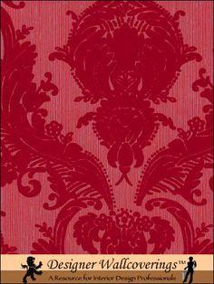 Pattern: FLK-129 | Name: Victorian Flocked Velvet Wallpaper - Red on Red/Gray | Category: More Red Flocked Velvet Patterns | DesignerWallcoverings.com  Specialty Wallpaper & Designer Wallcoverings for Home and Office.