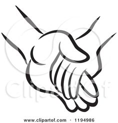 Black and White Childs Hand Holding an Adults Hand