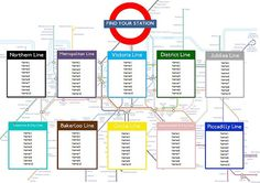 London Tube Map Table Seating Plan for Weddings Birthdays Parties - The Party Postman Wedding Table Themes, Wedding Table Seating, Diy Wedding Decorations, Wedding Ideas, Reception Decorations, Wedding Inspiration, London Tube Map, London Map, Wedding Photo Checklist
