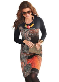Ambria Ethnic Print Long Sleeve Shift Dress