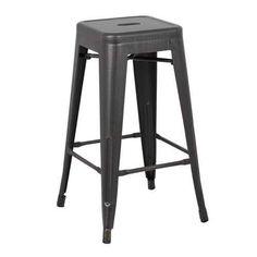 Backless Distressed Metal Barstool, Black, 30 -inch, Set of 2