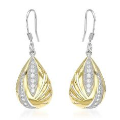 Earrings With 0.65ctw Cubic zirconia Beautifully Crafted in 14K/925 Gold plated Silver Length 33mm Unknown. $80.00