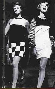 60 S Fashion Mary Quant Mini Skirt Geometric Printini Skirts Black And White