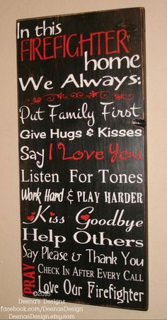 Firefighter House Rules, Firefighter Decor, Distressed Wall Decor, Custom Wood Sign, Firefighter - In This Firefighter Home