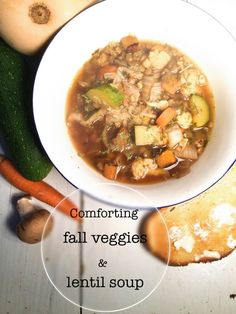 This one pot, easy to prepare fall veggies & lentil soup is so delicious and healthy, it is even hearty enough to have it as a meal. Vegan Breakfast Recipes, Delicious Vegan Recipes, Vegetarian Recipes, Healthy Recipes, Slow Cooker Recipes, Soup Recipes, Dinner Recipes, Homemade Soup, Lentil Soup