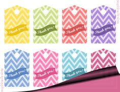Printable Thank you gift tags in pretty pastel colors. These chevron tags are perfect for small gifts and favors for all occasions.  The text Thank you is placed on stylish bunting ribbon. These printable pastel tags are easy to download PDF file (digital product). The files are ready to print.  DIY these gift tags and use them for gift wrapping, candy bags, even for digital scrapbooking.    This is the digital product with instant download service.  ***INSTANT DOWNLOAD*** These files are…