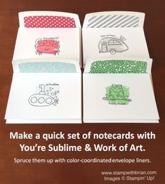 You're Sublime, Work of Art, Stampin' Up!, Brian King, cute notecards gift set