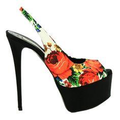 Gianmarco Lorenzi Floral Print Platform Slingback Pumps 2013 $1,295 #GML #Shoes