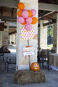 Vendor Credits: Party Styling & Printables: Crowning Details Flowers: The Briar Rose Wooden Signage, Vinyl Monograms & Painted Pumpkin Centerpieces: Created by Jackie Cake: Dessert Happiness Cake...