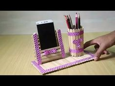 Homemade Pen stand and Mobile phone holder with ice cream sticks - How to Make Yellow Paper flowers – Flower Making of Crepe Paper – Paper Flower Tutorial – You - Diy Popsicle Stick Crafts, Popsicle Stick Houses, How To Make Yellow, Diy Phone Stand, Ice Cream Stick Craft, Support Telephone, Stick Art, How To Make Paper Flowers, Paper Flower Tutorial