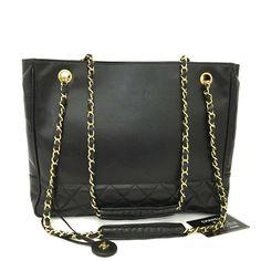 dcfa33cb80e CHANEL Quilted Matelasse Lambskin CC Logo Chain Shoulder Tote Bag Black    2vED x  fashion