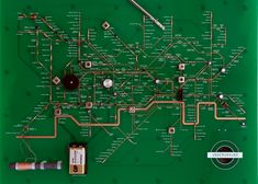 responding to 'thrift' as a theme, suzuki's work explores communication systems in consumer electronics.  a printed circuit board (PCB) is used as a precedent for developing a electrical circuit influenced by harry beck's iconic   london underground map diagrams. by strategically positioning certain speaker, resistor and battery components throughout the map,   users can visually understand the complex networks associated with electricity and how power is generated within a radio.