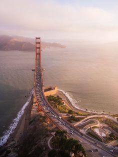 Morning Light - Golden Gate Birdge Aerial by Toby Harriman on 500px  )