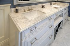 We'll take a vanity like this! Featured here, Showplace paint and our Cambridge door. Beautiful work to our talented friends at KB Cabinets in California!  Learn more about KB Cabinets: http://kbcabinets.com/ Learn more about our Cambridge door style: http://www.showplacewood.com/DOORS/cambridge/Doors.Cambr.html