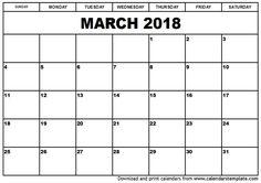26 best March 2018 Calendar images on Pinterest Holiday calendar