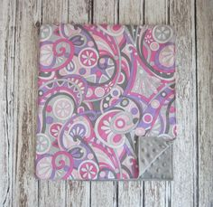 Pink, Lavender, Gray and White Modern Swirl Baby Blanket with Gray or White Minky Back, by Modern Baby Design