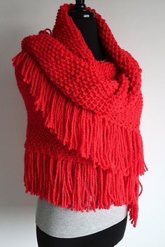 2603fecbc75db Large Size Bright Red Color Knitted Chunky Acrylic Yarn Shawl Wedding Wrap  Stole with Fringes Tassels