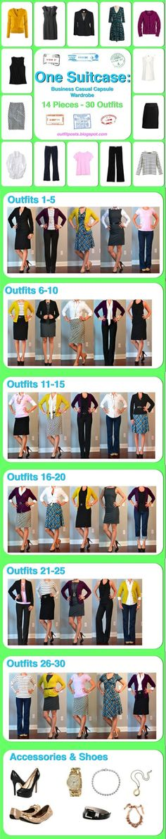 14 pieces & 30 looks! awesome for traveling! wouldn't wear certain pieces, but at least it's an idea on how to be versatile! :)