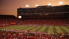 nebraska weather photos | Just after sunset, second half of the game as the stadium lights ...