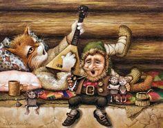 Art of Alexander Maskaev Humor Satirico, Funny Humor, Dragons, Illustration, Animation, Goblin, Pet Portraits, Cat Art, Troll