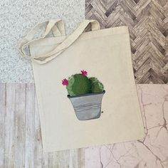 Potentially my new Instagram aesthetic?!? - Hand painted recycled tote bag using gouache and fabric medium 🌱🌵 -Etsy link in bio . . . . .… Paint Recycling, New Instagram, Gouache, Hand Painted, Tote Bag, Medium, Link, Illustration, Pretty