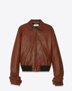 62edf9cf SAINT LAURENT WINTER 17 JACKET WITH OVERSIZED GATHERED SLEEVES IN COGNAC  VINTAGE LEATHER Vintage Leather Jacket