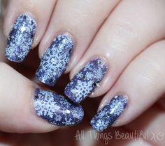 Winter Snowflakes Nail Art with Finger Paints Gogh with the Flow from All Things Beautiful XO  #nails #nailart