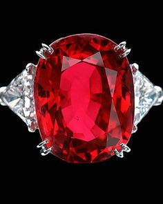 At 23.10 carats, the Carmen Lúcia Ruby is one of the finest large, faceted Burmese rubies known. This extraordinary gemstone displays a richly saturated homogenous red color, combined with an exceptional degree of transparency. The stone was mined from the fabled Mogok region of Burma (now Myanmar) in the 1930s. | You can see the Rest of the Outfit and my Comments on this board.  -  Gabrielle
