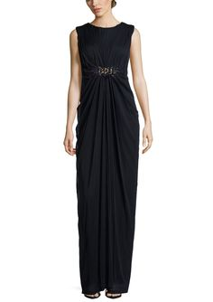 ADRIANNA PAPELL Ink Cap Sleeve Ruched Waist Gown