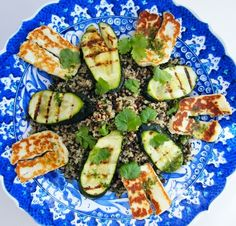 Quinoa, Puy Lentil and Halloumi Salad with Grilled Courgette. This gorgeously satisfying salad is finished off with a zingy fresh herb dressing. Make extra, it's even tastier on day two. Make it vegan and leave out the cheese. #salads #saladrecipe #veggie