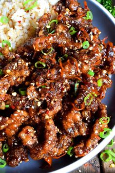 Thinly sliced beef, fried until crispy, and coated in a garlic and ginger sauce; 30 Minute Ginger Beef is an expensive dinner the whole family will love! Beef Recipes For Dinner, Cooking Recipes, Pie Recipes, Ginger Beef, Fresh Ginger, Asian Recipes, Healthy Recipes, Chinese Beef Recipes, Steak And Rice