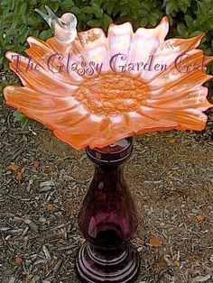 Glass Bird Bath, Glass garden art, yard art, repurposed recycled up cycled glass, unique garden decor, sun catcher,  www.TheGlassyGardenGal.com